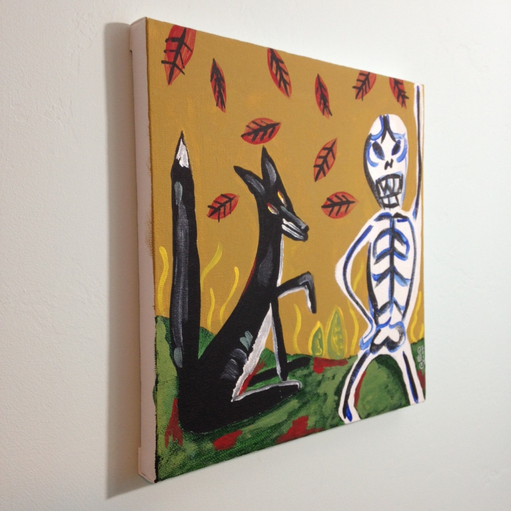 Side-View Fox and Skeleton- Tribute to Irving Kriesberg Linda Cleary 2014 Acrylic on Canvas