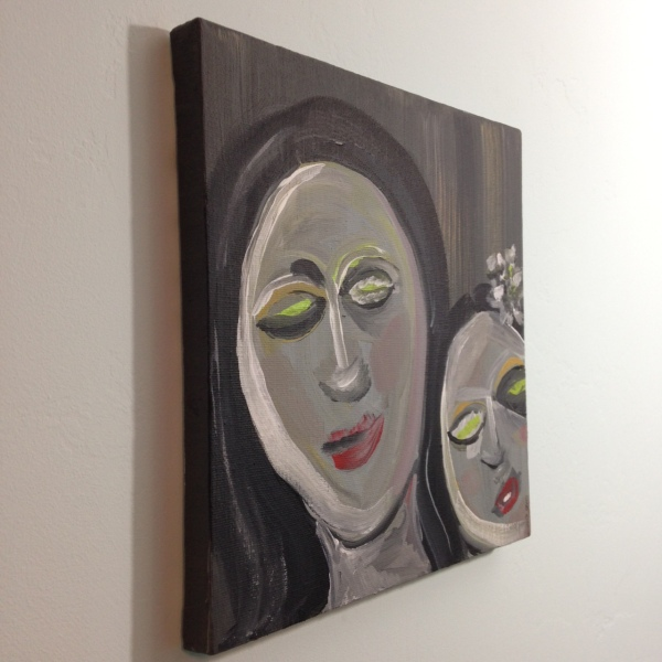 Side-View Like Mother Like Daughter- Tribute to Eva Hesse Linda Cleary 2014 Acrylic on Canvas