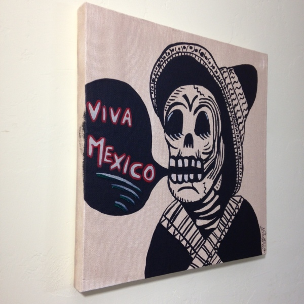 Side-View Viva Mexico- Tribute to José Guadalupe Posada Linda Cleary 2014 Acrylic on Canvas