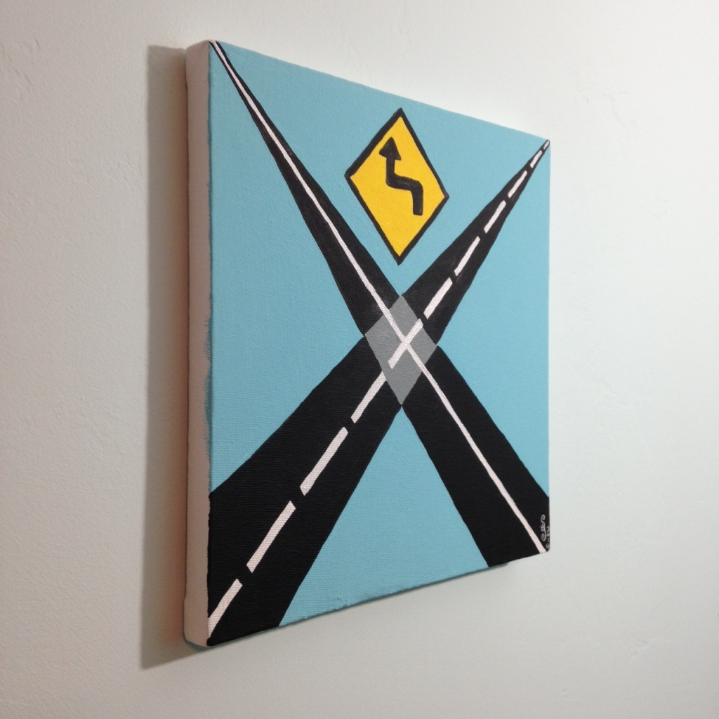 Side-View Intersection- Tribute to Allan D'Arcangelo Linda Cleary 2014 Acrylic on Canvas