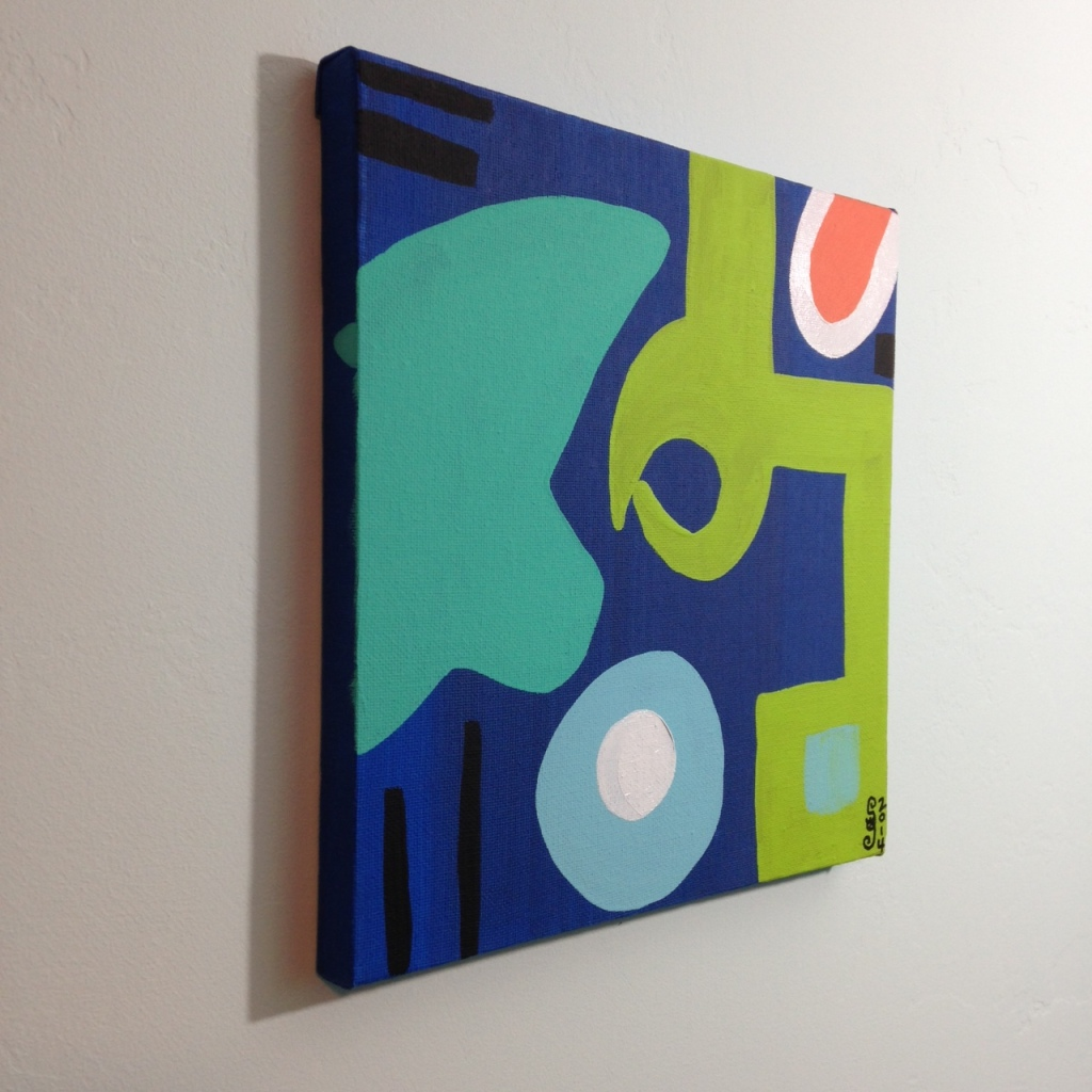 Side- VIew Different Blues, Lime, Orange, Black and White- Tribute to Patrick Heron Linda Cleary 2014 Acrylic on Canvas