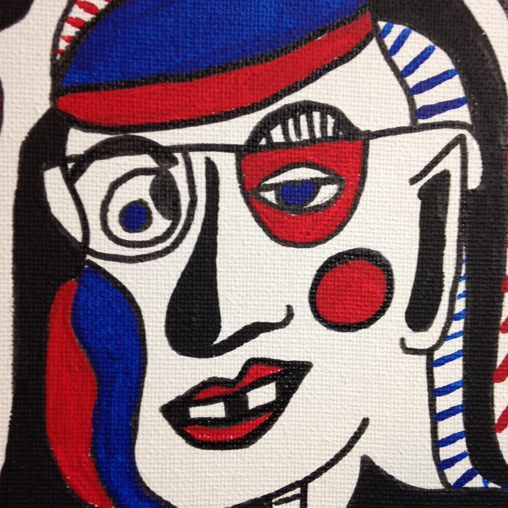 Close-Up 1 Memories of Something- Tribute to Jean Dubuffet Linda Cleary 2014 Pen, Ink & Acrylic on Canvas