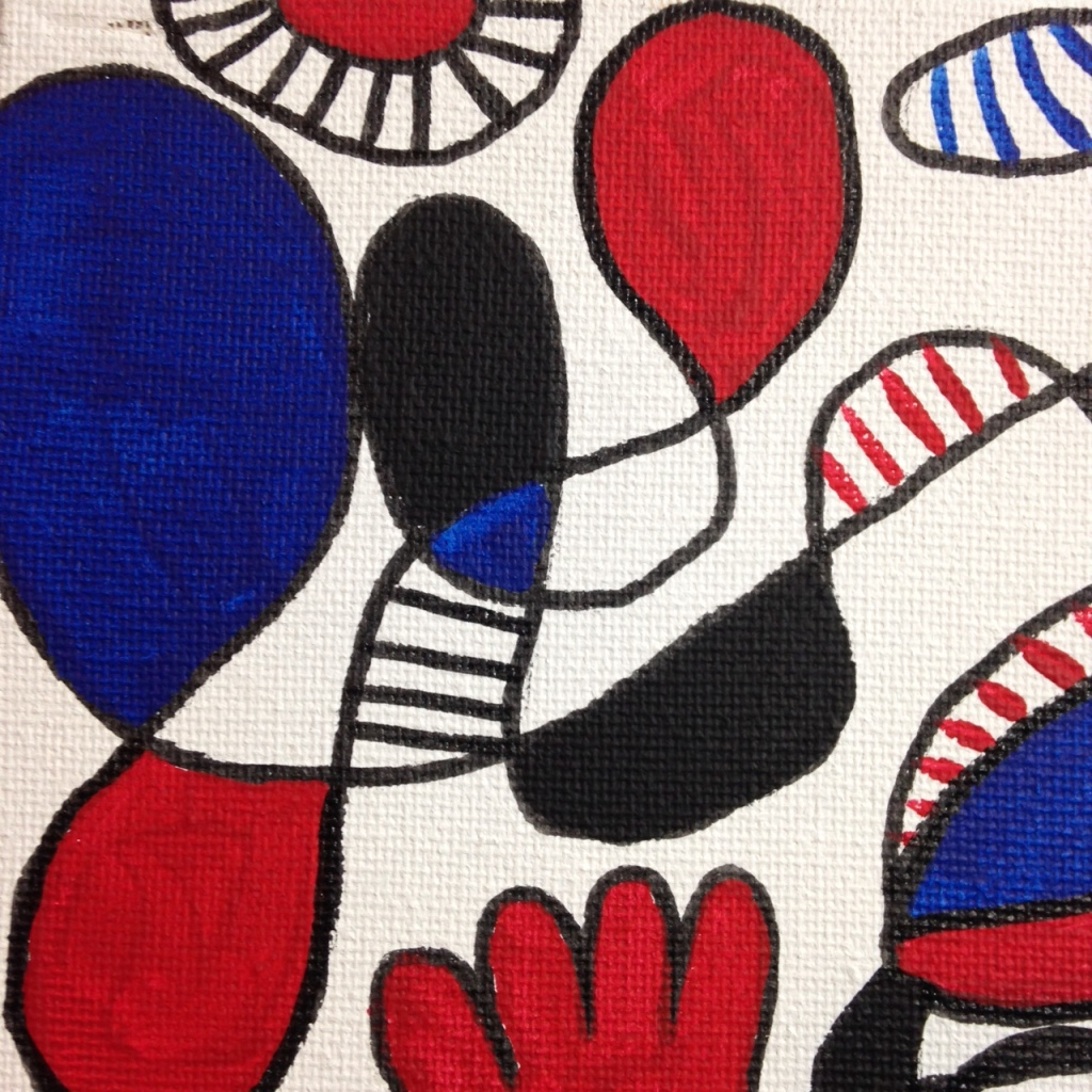 Close-Up 4 Memories of Something- Tribute to Jean Dubuffet Linda Cleary 2014 Pen, Ink & Acrylic on Canvas