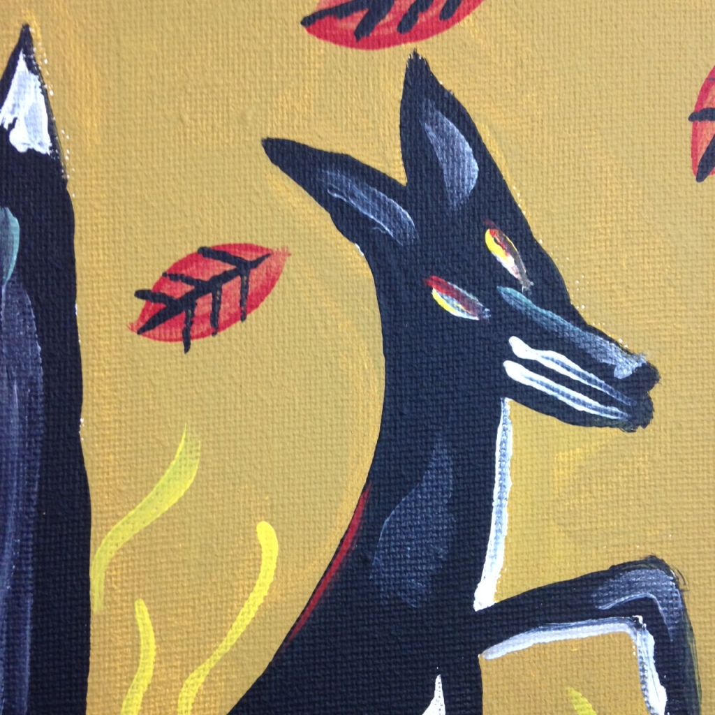 Close-Up 1 Fox and Skeleton- Tribute to Irving Kriesberg Linda Cleary 2014 Acrylic on Canvas