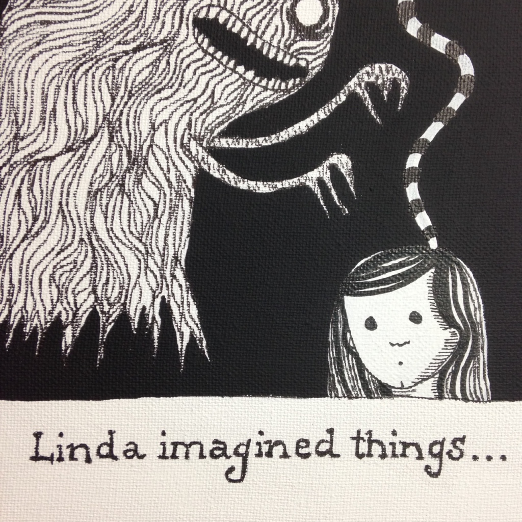 Close-Up 1 Linda Imagined Things…-Tribute to Edward Gorey Linda Cleary 2014 Acrylic/Pen&Ink on Canvas