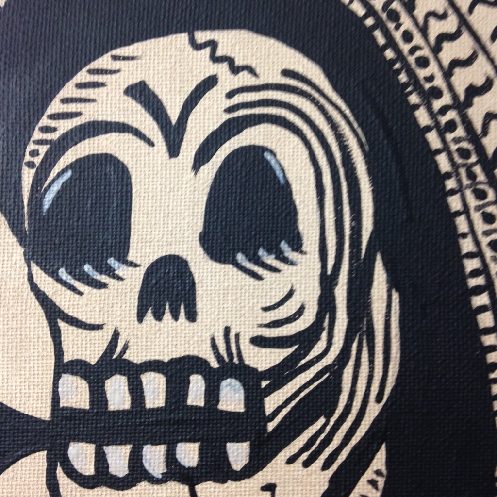 Close-Up 1 Viva Mexico- Tribute to José Guadalupe Posada Linda Cleary 2014 Acrylic on Canvas