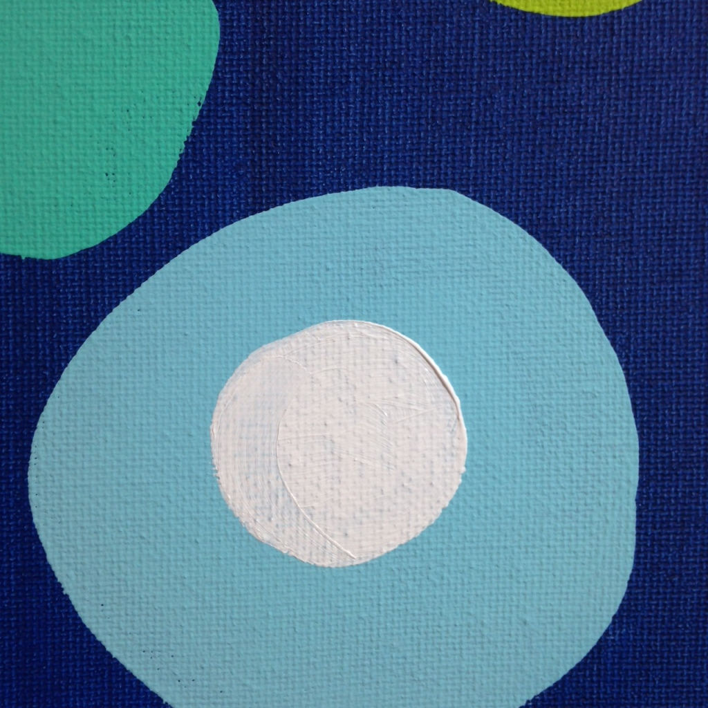 Close-Up 1 Different Blues, Lime, Orange, Black and White- Tribute to Patrick Heron Linda Cleary 2014 Acrylic on Canvas