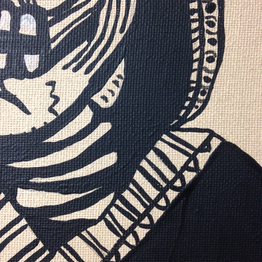 Close-Up 2 Viva Mexico- Tribute to José Guadalupe Posada Linda Cleary 2014 Acrylic on Canvas