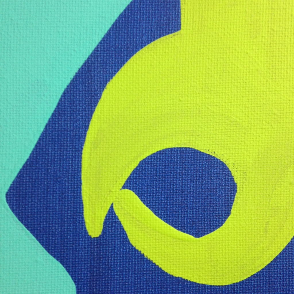 Close-Up 2 Different Blues, Lime, Orange, Black and White- Tribute to Patrick Heron Linda Cleary 2014 Acrylic on Canvas