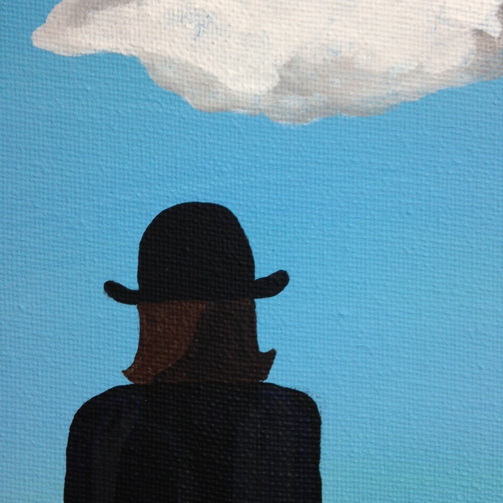 Close-Up 2 The Elusive Mystery- Tribute to Rene Magritte Linda Cleary 2014 Acrylic on Canvas