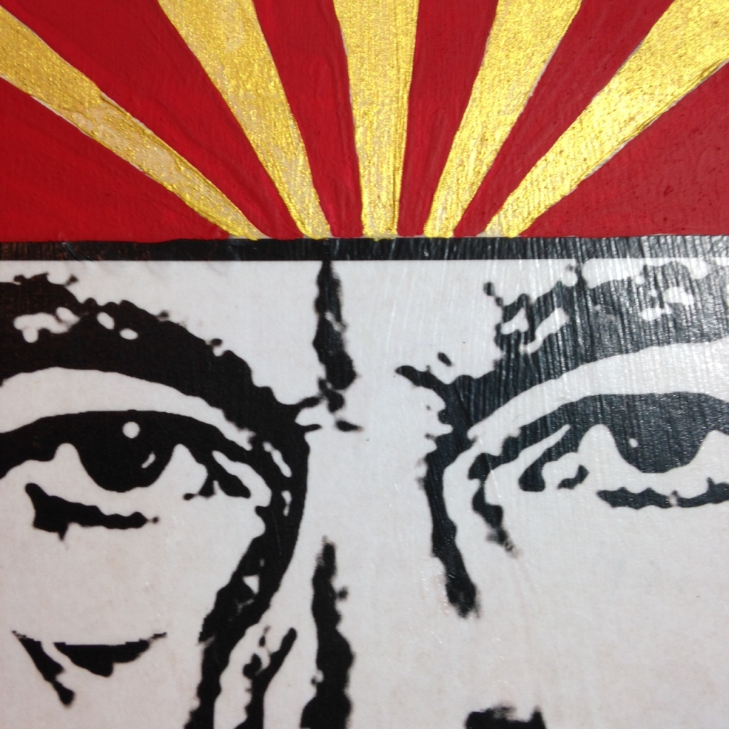 Close-Up 3 ENGAGE- Tribute to Shepard Fairey Linda Cleary 2014 Mixed Media/Acrylic on Wood Panel