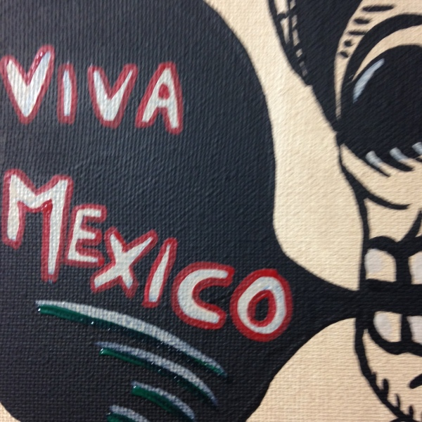 Close-Up 3 Viva Mexico- Tribute to José Guadalupe Posada Linda Cleary 2014 Acrylic on Canvas