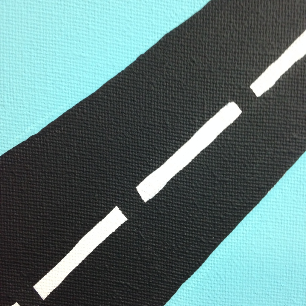 Close-Up 3 Intersection- Tribute to Allan D'Arcangelo Linda Cleary 2014 Acrylic on Canvas
