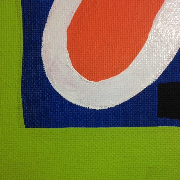 Close-Up 3 Different Blues, Lime, Orange, Black and White- Tribute to Patrick Heron Linda Cleary 2014 Acrylic on Canvas