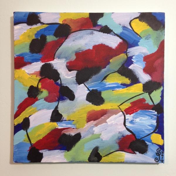 Bleus de Printemps- Tribute to Jean Le Moal Linda Cleary 2014 Acrylic on Canvas