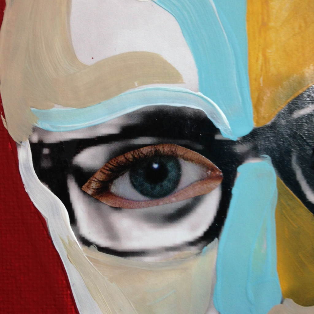 Close-Up 1 You Got That Kissinger Smile- Tribute to Richard Hamilton Linda Cleary 2014 Mixed Media on Canvas