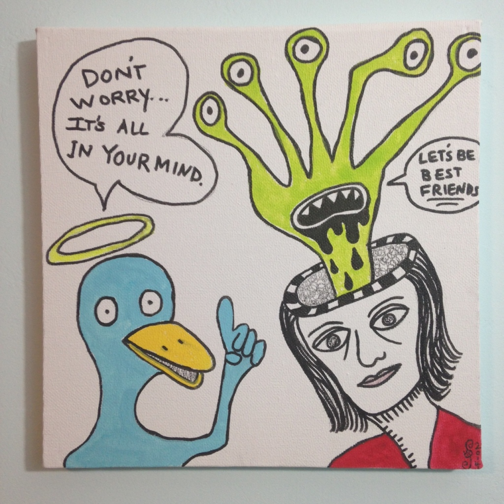 Let's Be Best Friends- Tribute to Daniel Johnston Linda Cleary 2014 Pen & Ink/ Acrylic on Canvas