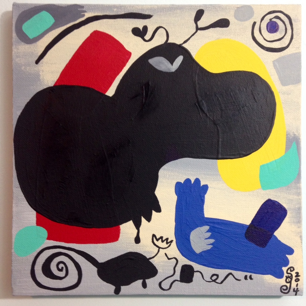 Phantom!- Tribute to Willi Baumeister Linda Cleary 2014 Acrylic on canvas