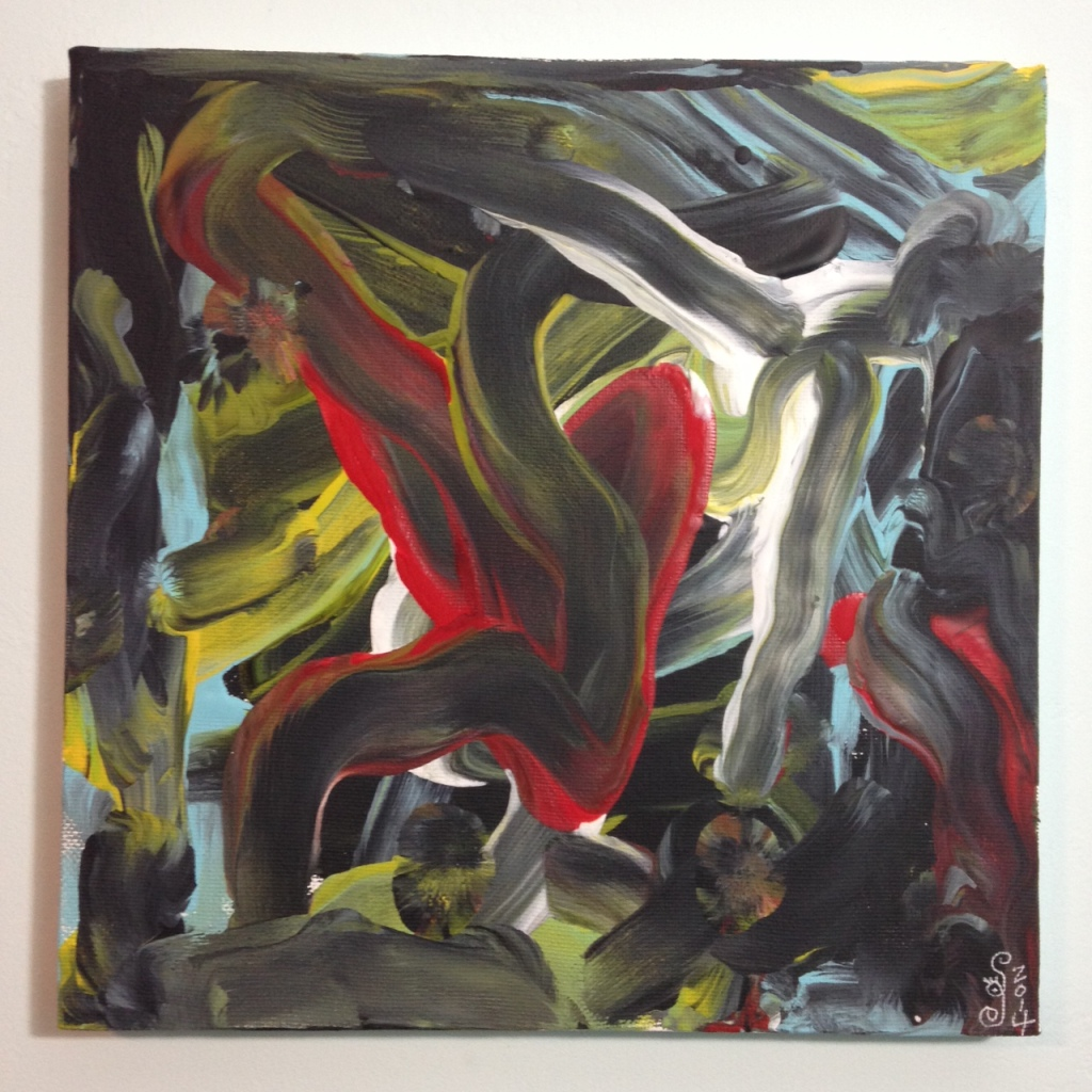 Akai Hi- Tribute to Kazuo Shiraga Linda Cleary 2014 Acrylic on Canvas (painted with feet)