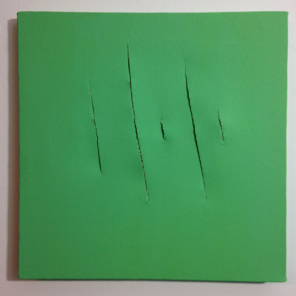 Remain Calm- Tribute to Lucio Fontana Linda Cleary 2014 Acrylic on Canvas