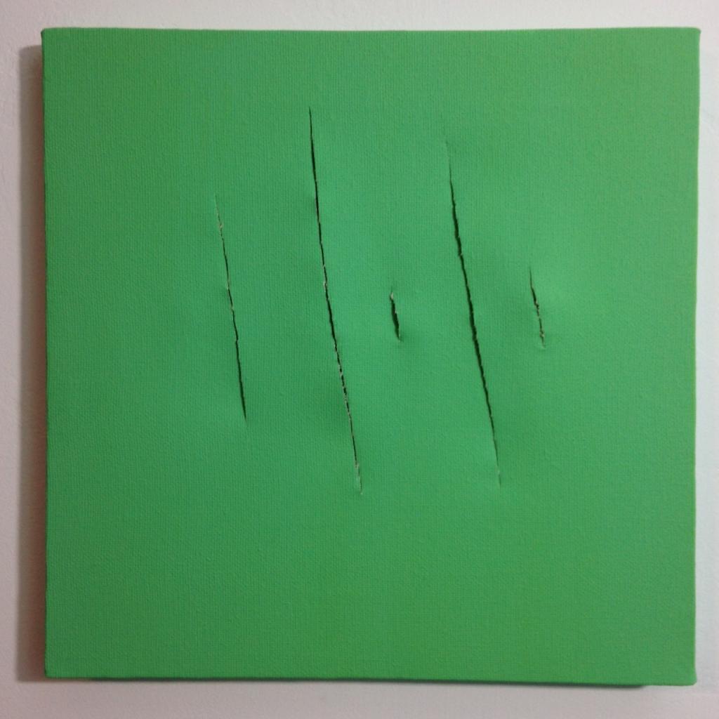Remain Calm- Tribute to Lucio Fontana Linda Cleary 2014 Acrylic on Canvas