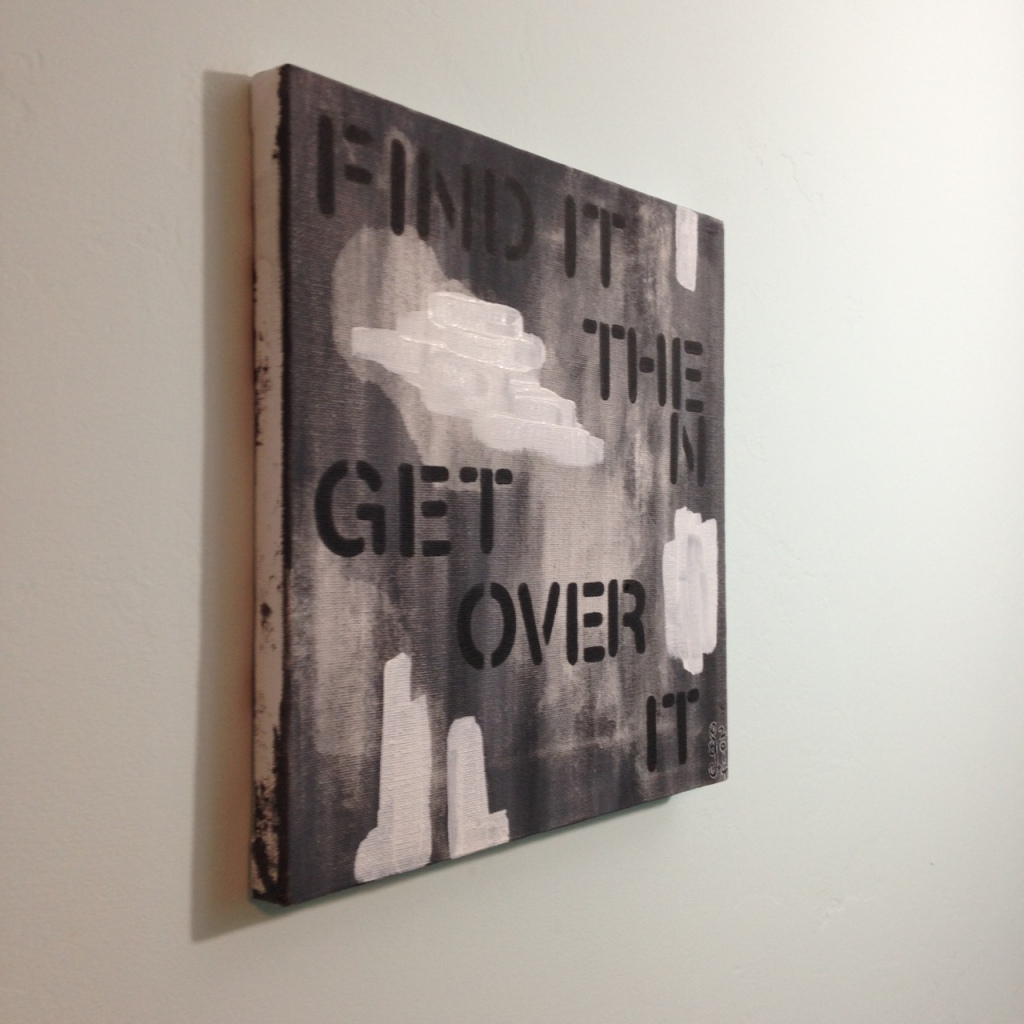 Side-View Find It Then Get Over It- Tribute to Christopher Wool Linda Cleary 2014 Acrylic on Canvas
