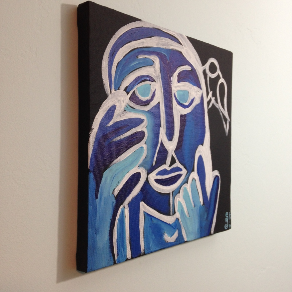 Side-View Visage et Oiseaux- Tribute to Gerard Sendrey Linda Cleary 2014 Acrylic on Canvas