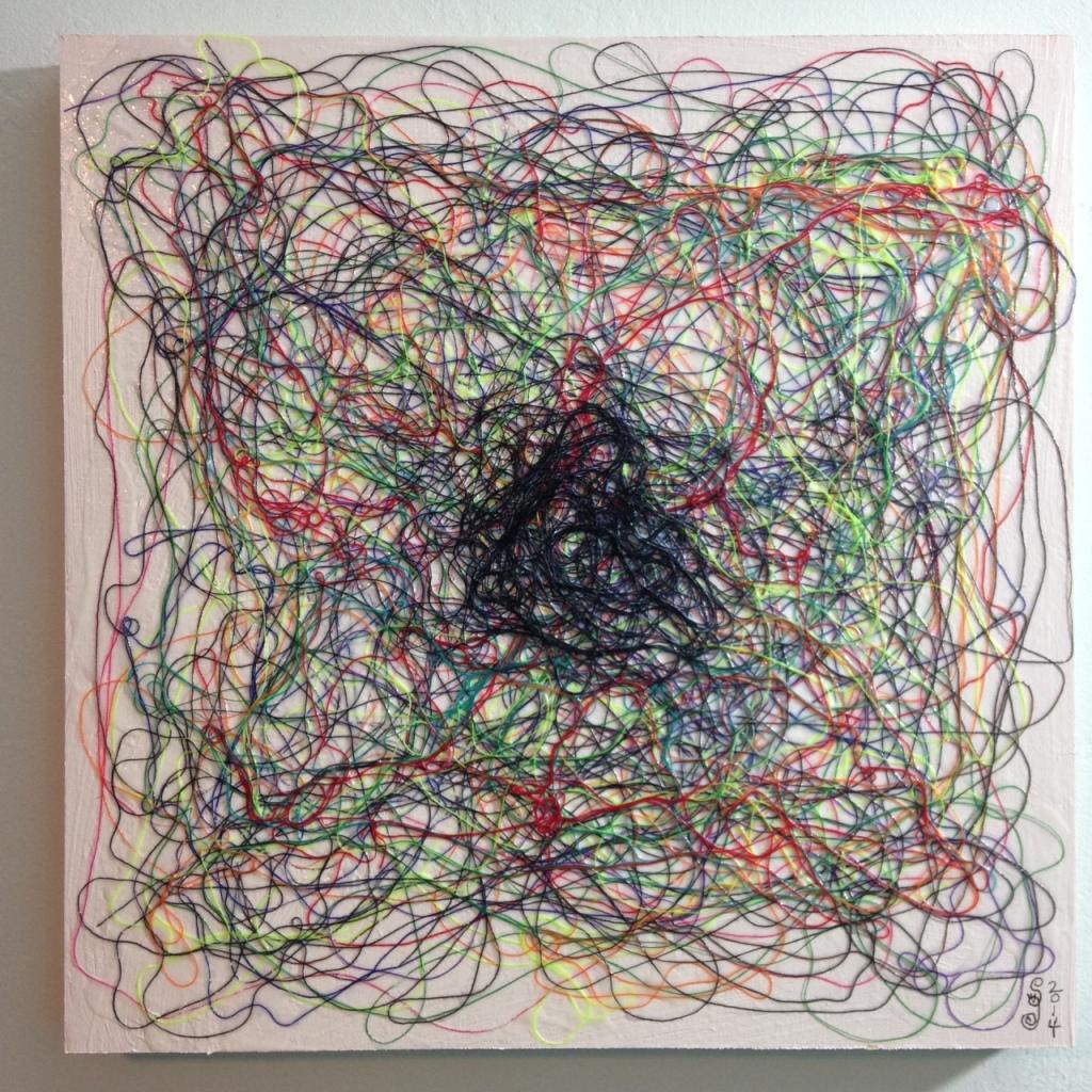 Art Therapy- Tribute to Rhea Carmi Linda Cleary 2014 Thread, glue, acrylic on wood panel