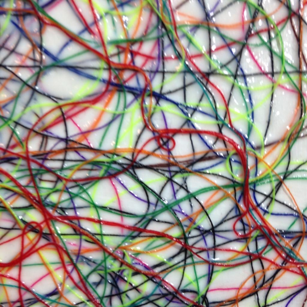 Close-Up 2 Art Therapy- Tribute to Rhea Carmi Linda Cleary 2014 Thread, glue, acrylic on wood panel