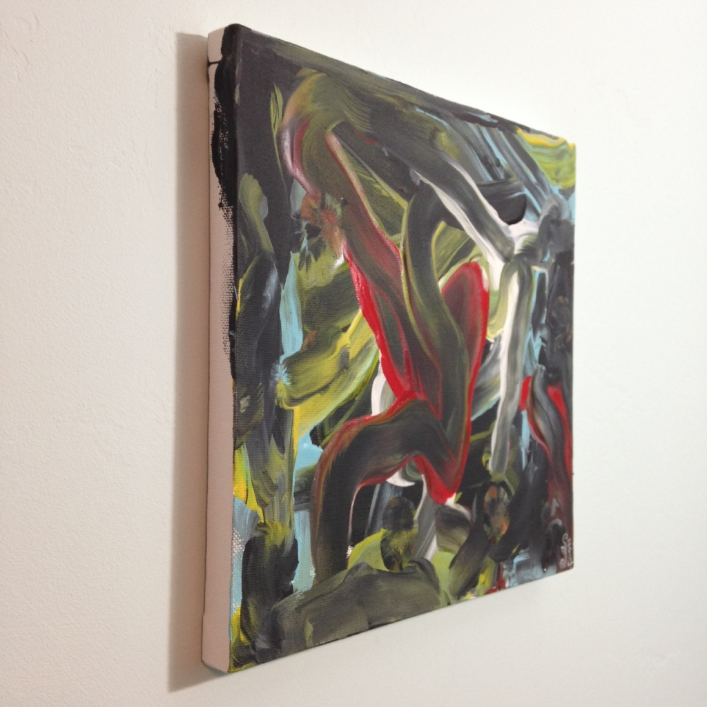 Side-VIew Akai Hi- Tribute to Kazuo Shiraga Linda Cleary 2014 Acrylic on Canvas (painted with feet)
