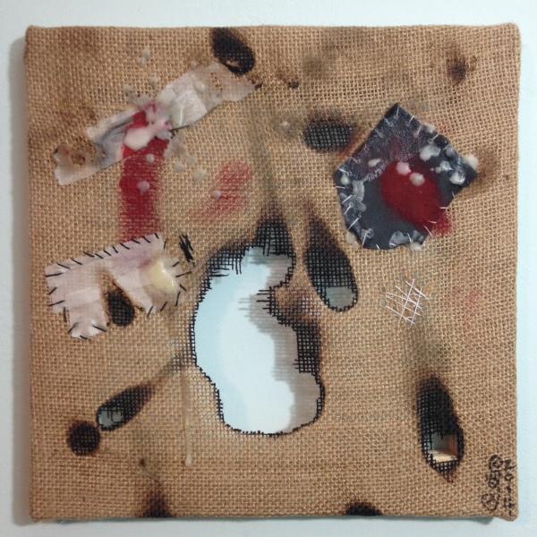 Dolore- Tribute to Alberto Burri Linda Cleary 2014 Mixed Media on Burlap (wax, medical tape, acrylic, thread, tape)