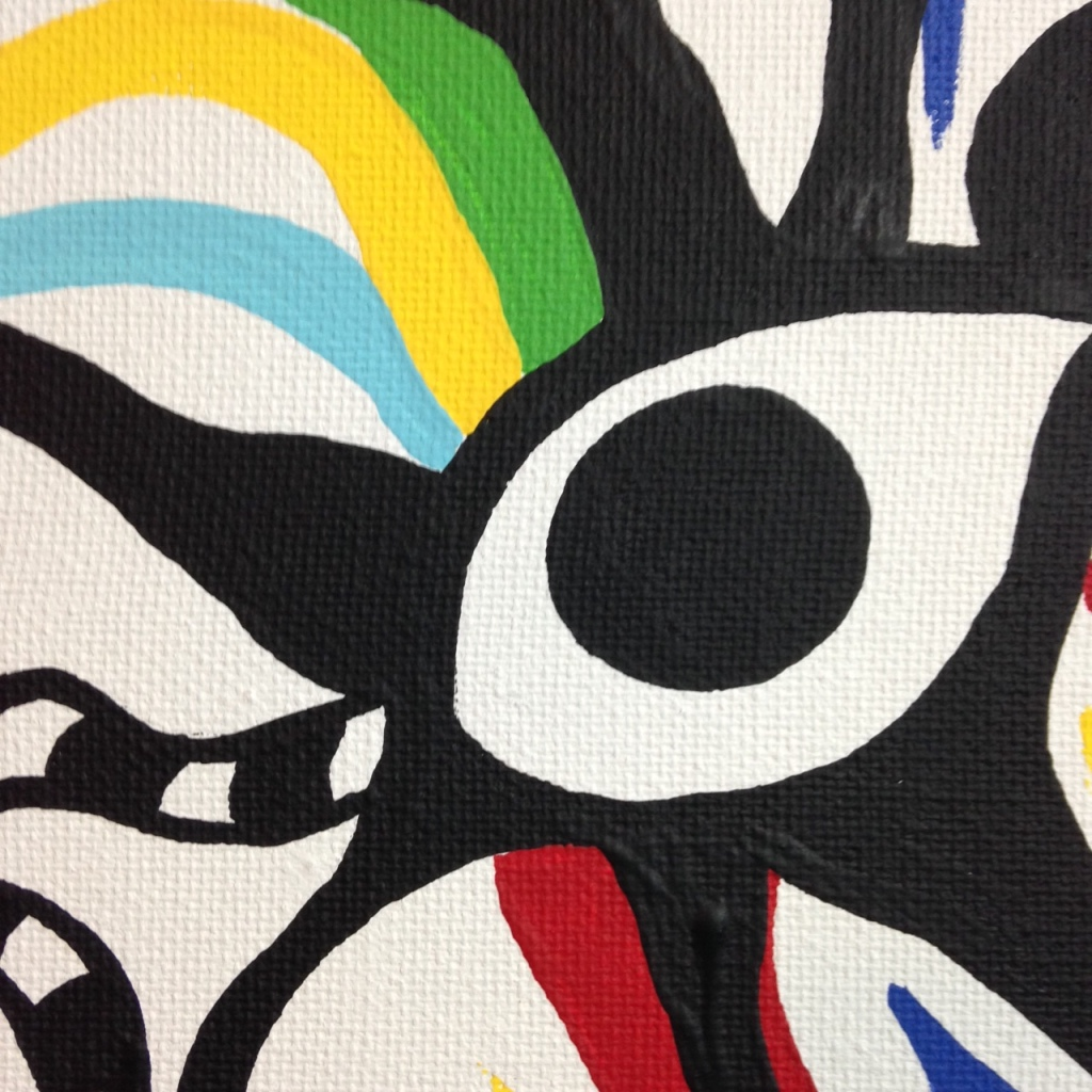 Close-Up 1 Eye of the Future- Tribute to Taro Okamoto Linda Cleary 2014 Acrylic on Canvas