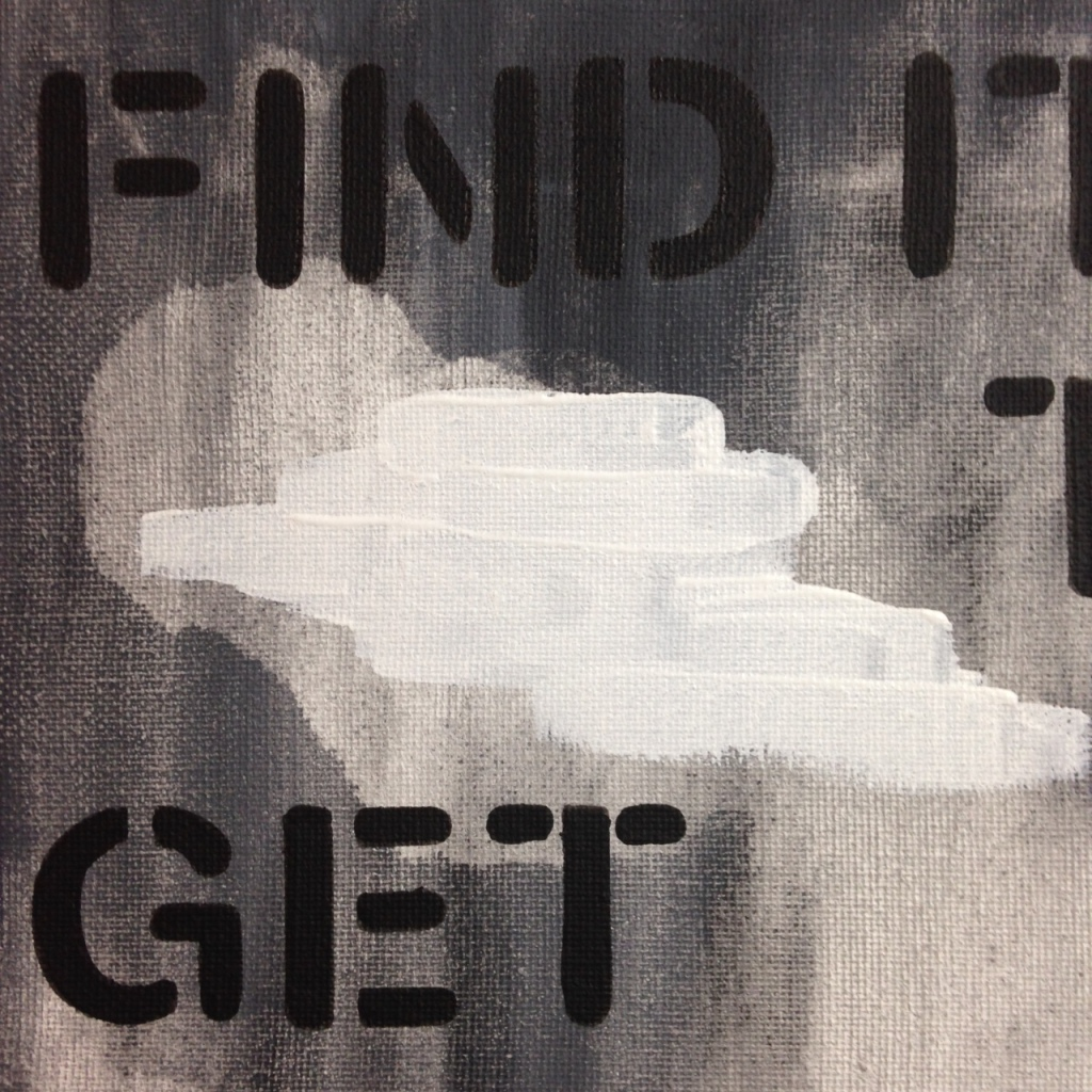 Close-Up 1 Find It Then Get Over It- Tribute to Christopher Wool Linda Cleary 2014 Acrylic on Canvas