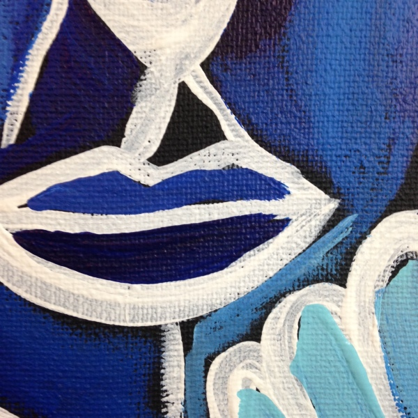 Close-Up 1 Visage et Oiseaux- Tribute to Gerard Sendrey Linda Cleary 2014 Acrylic on Canvas