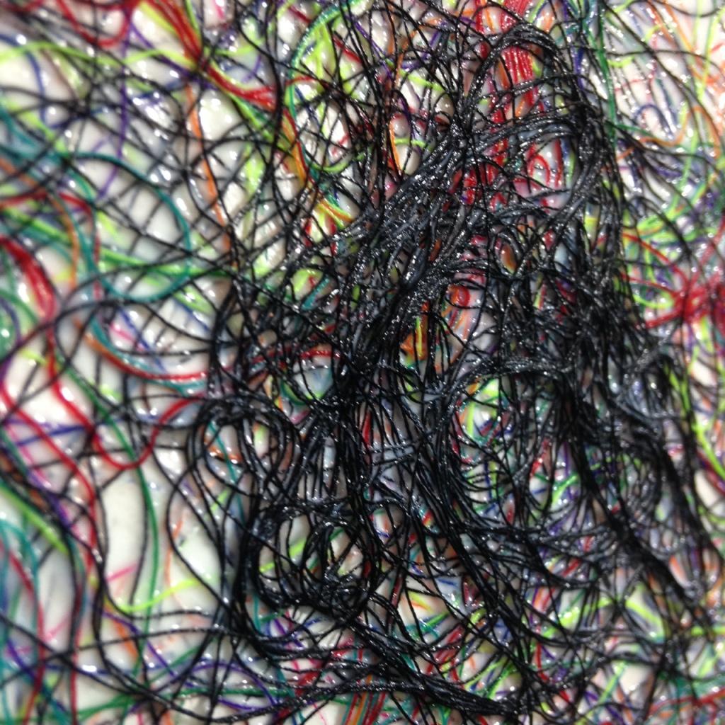 Close-Up 3 Art Therapy- Tribute to Rhea Carmi Linda Cleary 2014 Thread, glue, acrylic on wood panel