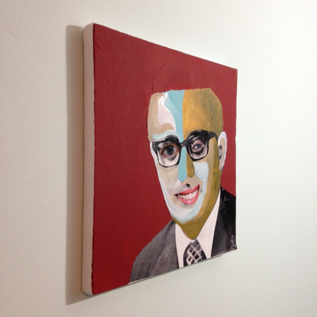 Side-View You Got That Kissinger Smile- Tribute to Richard Hamilton Linda Cleary 2014 Mixed Media on Canvas