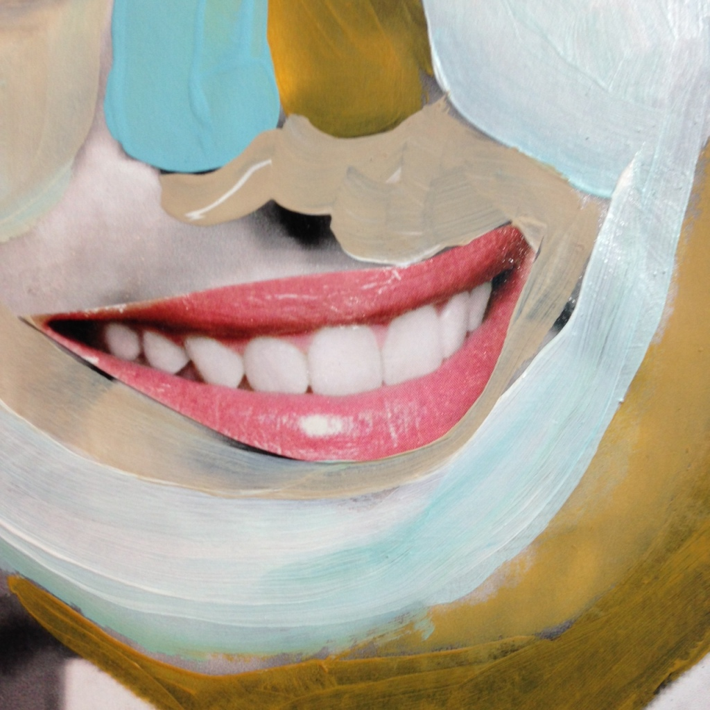 Close-Up 3 You Got That Kissinger Smile- Tribute to Richard Hamilton Linda Cleary 2014 Mixed Media on Canvas