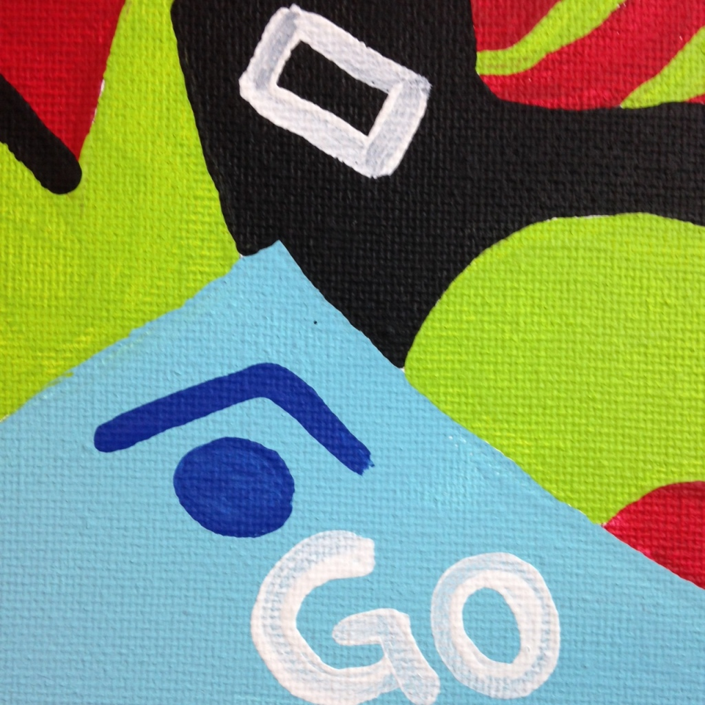 Close-Up 1 Go- Tribute to Stuart Davis Linda Cleary 2014 Acrylic on Canvas