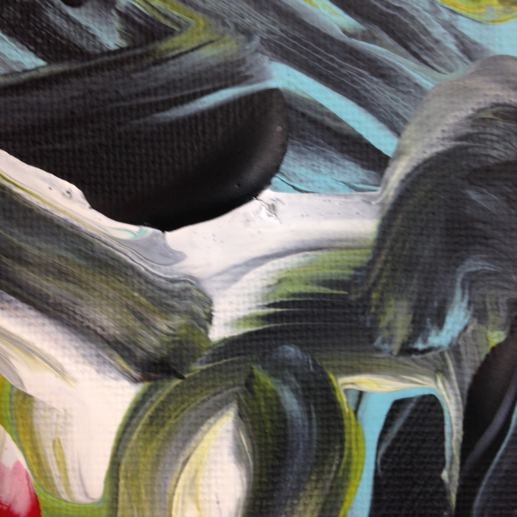 Close-Up 1 Akai Hi- Tribute to Kazuo Shiraga Linda Cleary 2014 Acrylic on Canvas (painted with feet)