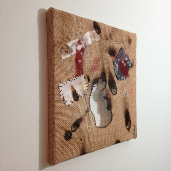 Side-View Dolore- Tribute to Alberto Burri Linda Cleary 2014 Mixed Media on Burlap (wax, medical tape, acrylic, thread, tape)