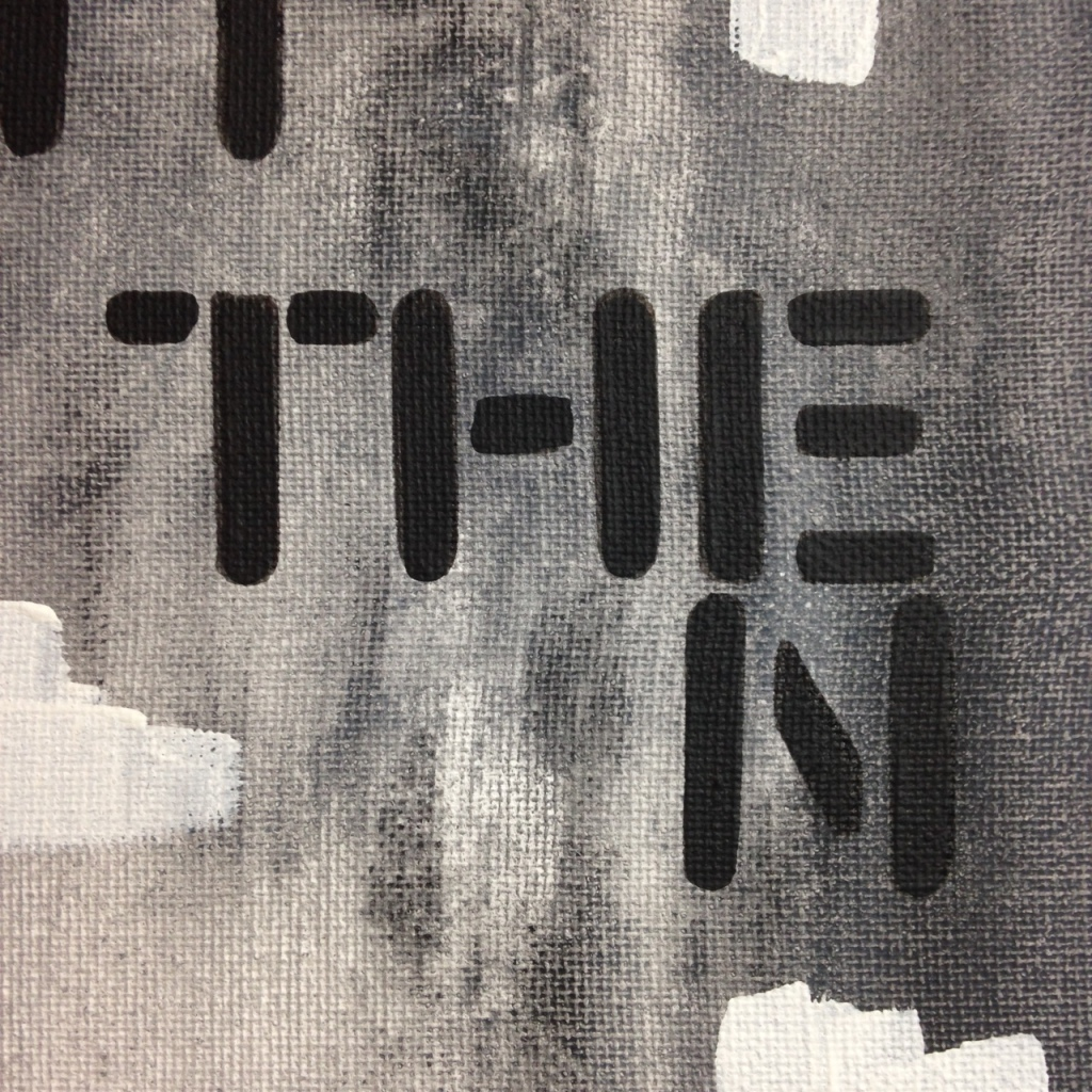 Close-Up 2 Find It Then Get Over It- Tribute to Christopher Wool Linda Cleary 2014 Acrylic on Canvas