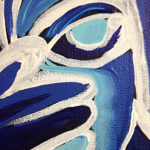 Close-Up 3 Visage et Oiseaux- Tribute to Gerard Sendrey Linda Cleary 2014 Acrylic on Canvas