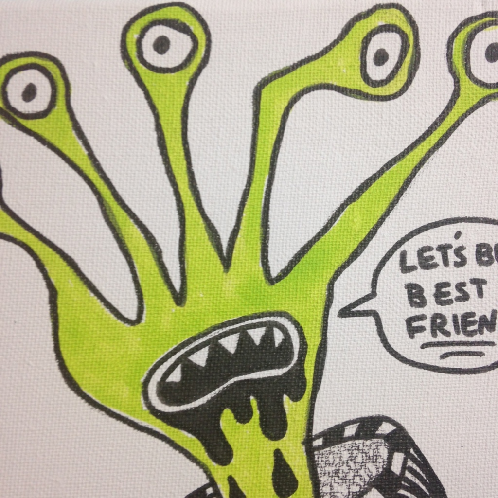 Close-Up 3 Let's Be Best Friends- Tribute to Daniel Johnston Linda Cleary 2014 Pen & Ink/ Acrylic on Canvas