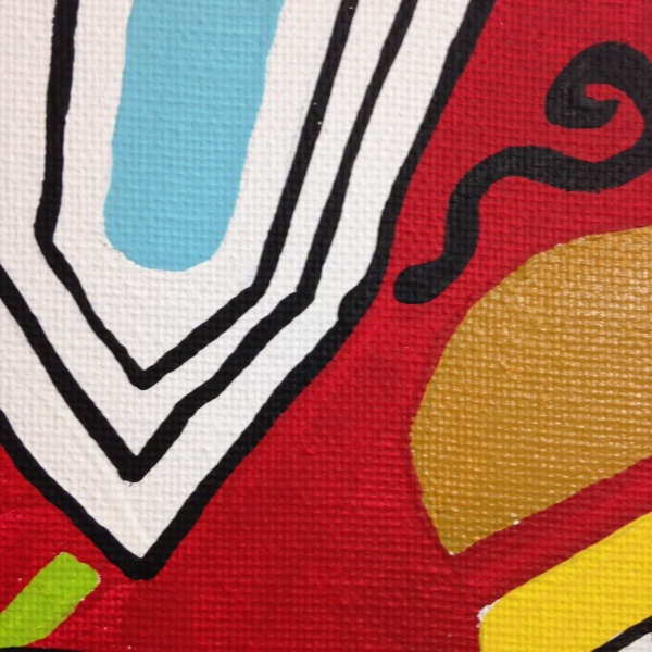 Close-Up 3 Go- Tribute to Stuart Davis Linda Cleary 2014 Acrylic on Canvas