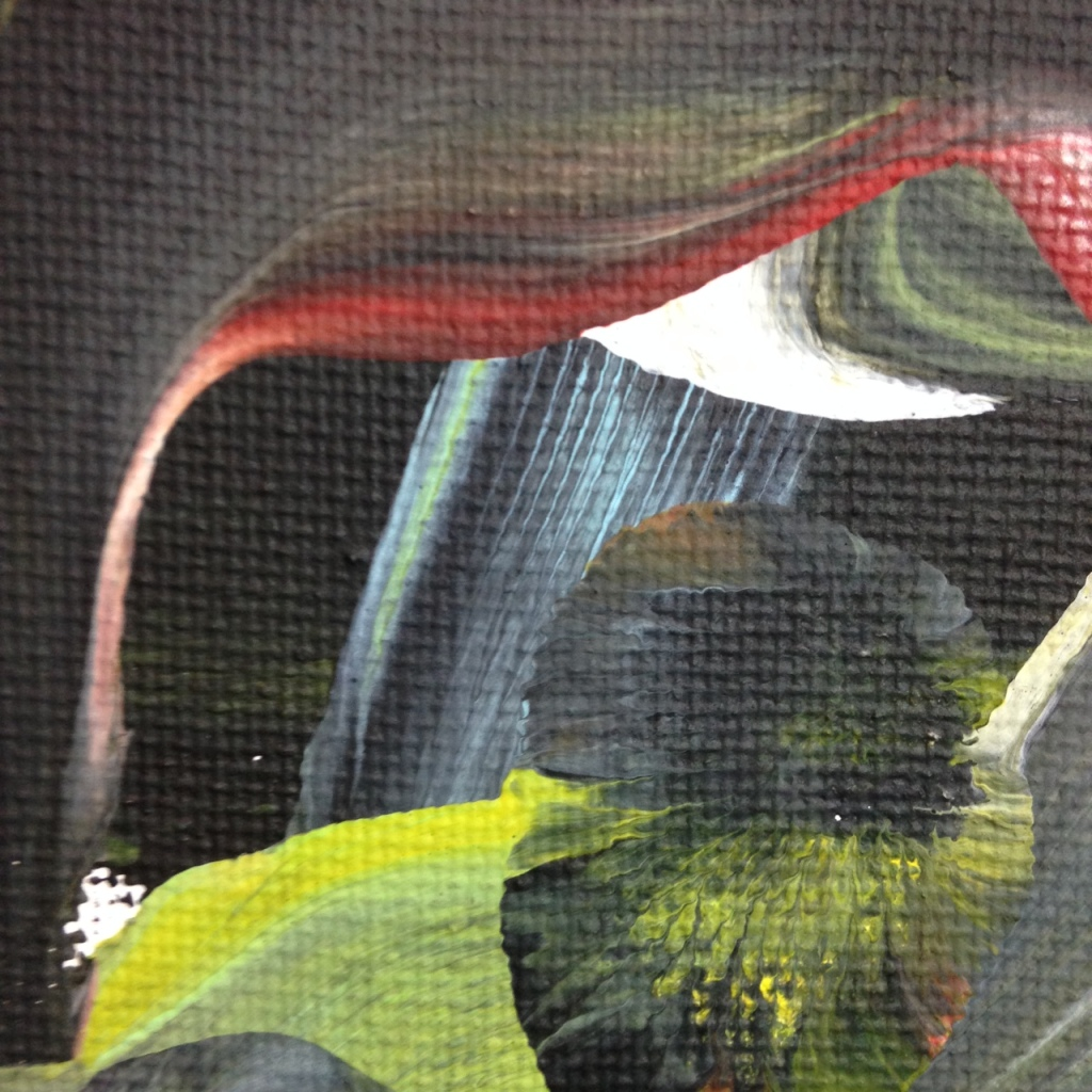 Close-Up 3 Akai Hi- Tribute to Kazuo Shiraga Linda Cleary 2014 Acrylic on Canvas (painted with feet)