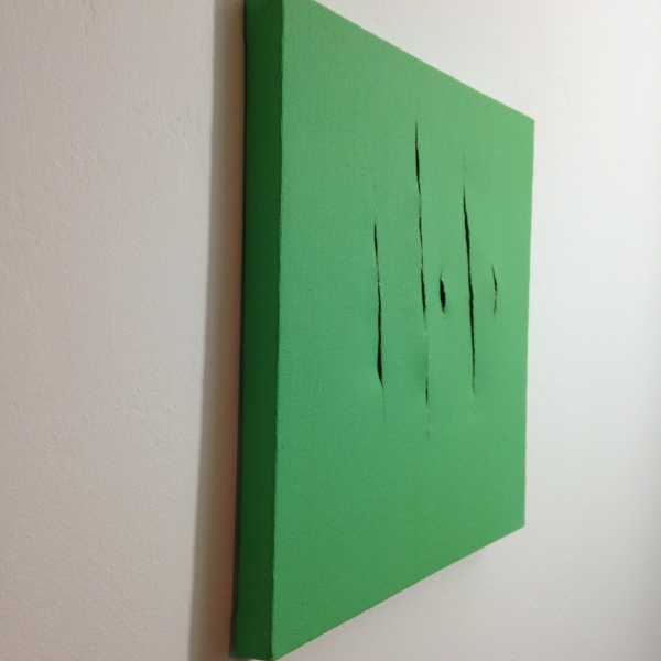 Side-View Remain Calm- Tribute to Lucio Fontana Linda Cleary 2014 Acrylic on Canvas
