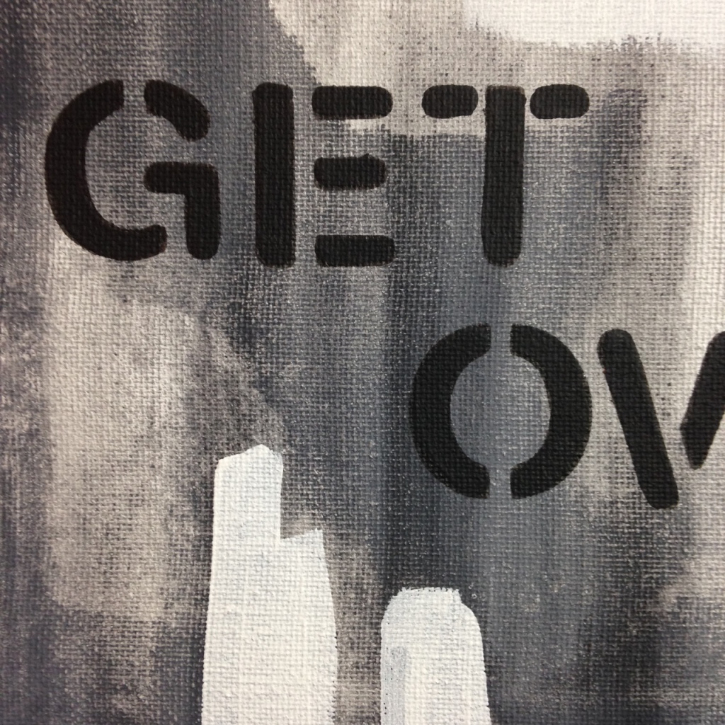 Close-Up 3 Find It Then Get Over It- Tribute to Christopher Wool Linda Cleary 2014 Acrylic on Canvas