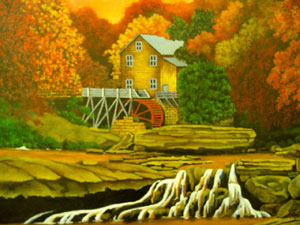 Mill in Autumn Mouth-painted by Jeff LaDow