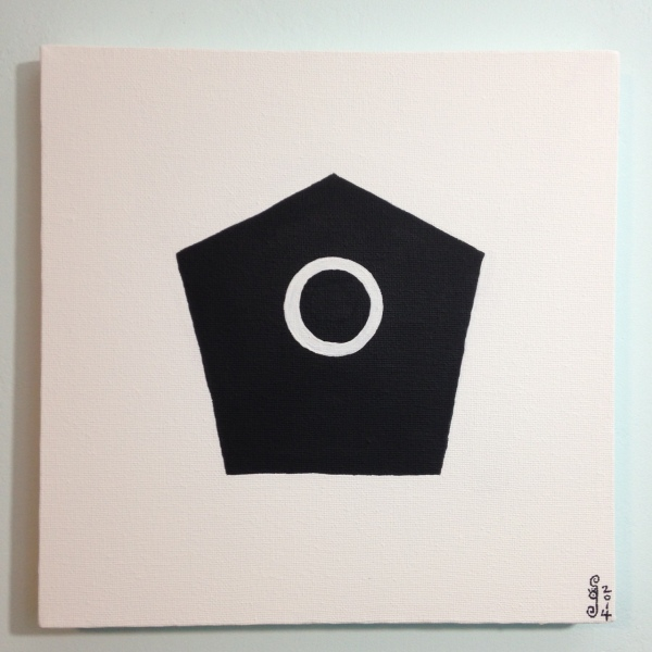 Pentagon with Circle- Tribute to Olivier Mosset Linda Cleary 2014 Acrylic on Canvas