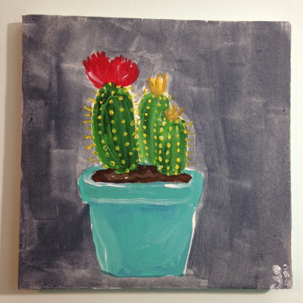 Little Cacti- Tribute to the Mouth Painters of the Mouth and Foot Painting Artists of the USA Linda Cleary 2014 Acrylic on Canvas